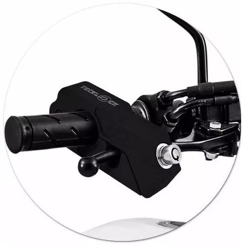 trava moto tecklock freio manete cadeado antifurto