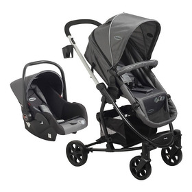 Travel System Coche Bebe + Baby Silla Alfa Bebesit Gris