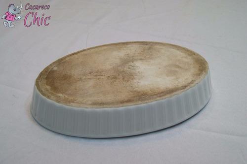 travessa oval porcelana francesa refrataria canelada cchic #