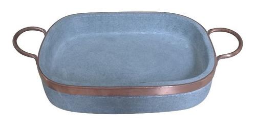 travessa retangular grande pedra sabão 37 x 21,5 cm