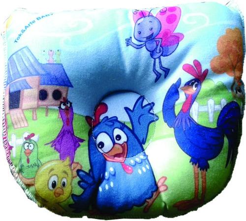 travesseiro bebê galinha pintadinha- apoio de cabeça 3 peças