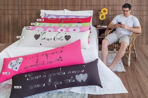 travesseiro + capa bordada 02 pçs (xuxão ou abraçadinho)