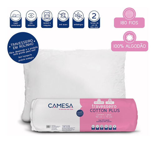 travesseiro cotton plus suporte firme 180 fios 50x70 camesa
