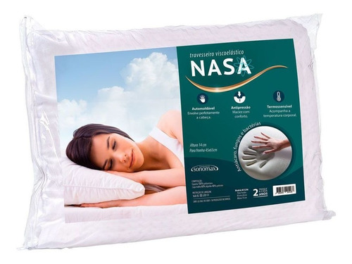 travesseiro duoflex sonomax nasa visco 65x45