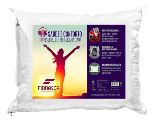 travesseiro fibrasca conforto lavável 50x70