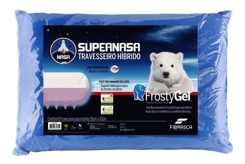 travesseiro fibrasca frostygel supernasa tlatex p/ fronha 50x70