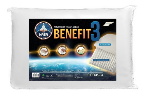 travesseiro fibrasca nasa benefit 3 visco massagem p/ fronha 50x70