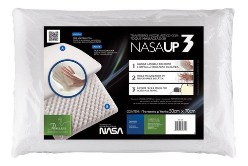 travesseiro fibrasca nasa up3 dupla face massagem p/ fronha 50x70