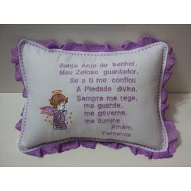 Travesseiro Oração Do Anjo Da Guarda Lilás