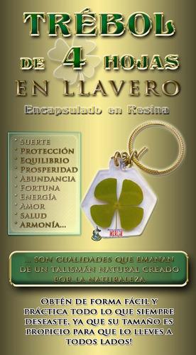 trebol de 4 hojas en llavero - prosperidad, proteccion, amor