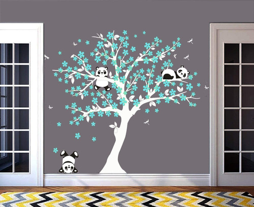 tree wall decals for kids room with three little panda...