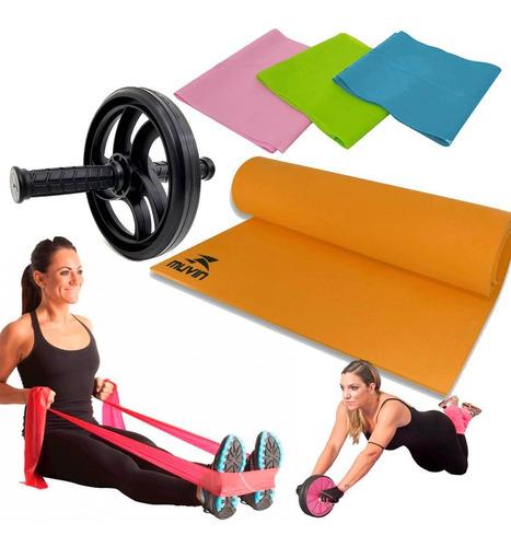 treinamento funcional+roda+faixalevemediaforte+tapete