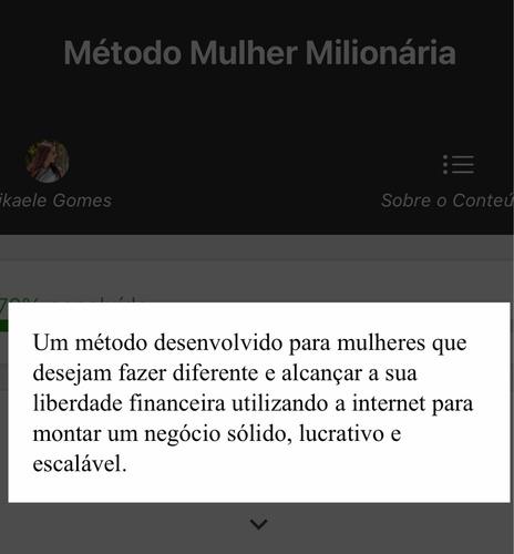 treinamento - método mulher milionária - por mikaelle gomes