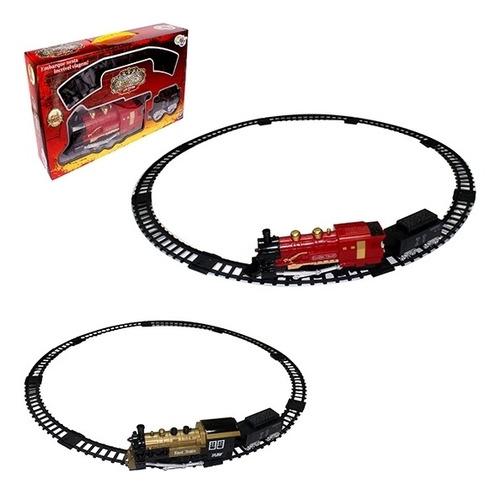 trem eletrico classico locomotiva com trilhos vagoes som