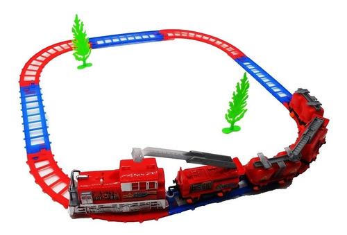 trem eletrico ferrorama acao com locomotiva e 4 vagoes compl