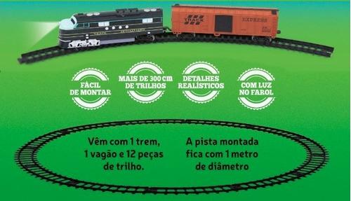 trem expresso ferrorama miniatura a pilha com farol - dtc
