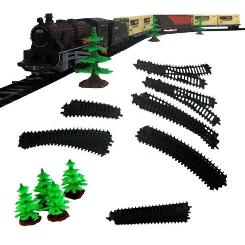 trem trenzinho de brinquedo trilhos encaixe 8003 - braskit