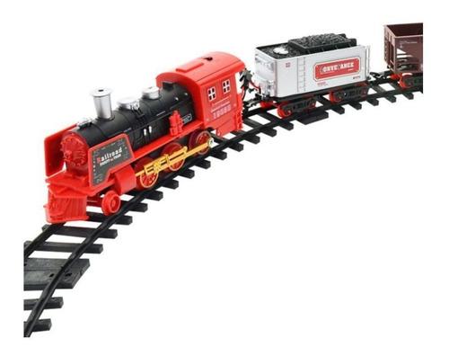 tren a pilas rail king set 3 vagones- con luz y humo