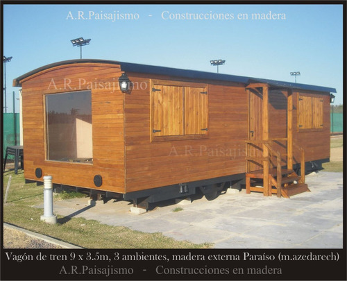 tren de madera replica vagon tipo galpon solo casco 30m2
