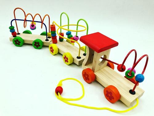 tren didactico de madera con prono motricidad 3 vagones