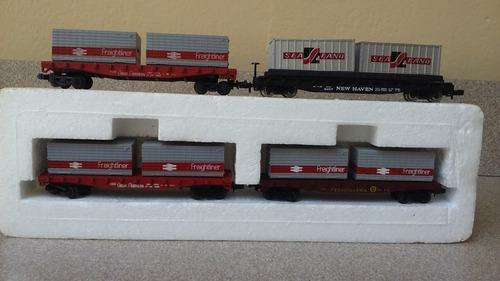 tren eléctrico escala n,  vagones con contenedores