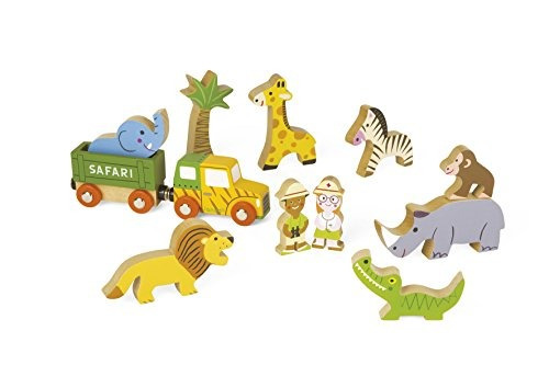 tren safari janod set x 33 piezas