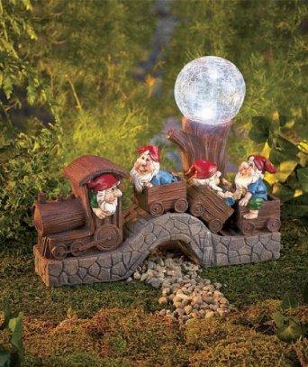 tren solar al aire libre con gnomos jard n decoraci n ForDecoracion Jardin Gnomos