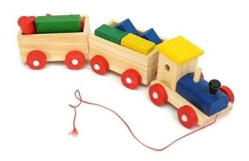 trencito de madera bloques p/ armar didactico tren encastre