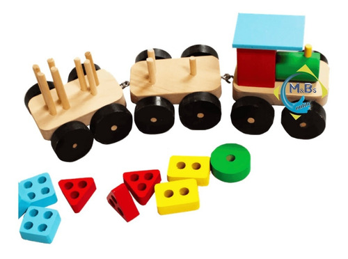 trencito encastre geometrico didáctico numerico madera niños