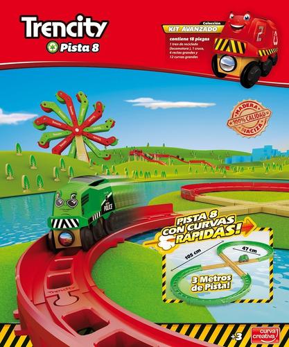trencity kit avanzado pista 8 tren madera 18 piezas educando