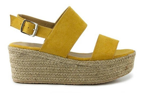 De Trender Mujer Mostaza Para Sandalia Plataforma Yute Color CBodxe