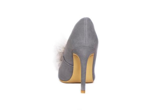 trender stiletto gris con pompon frontal 9310557