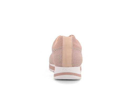 trender tenis color rosa con agujetas en la parte de