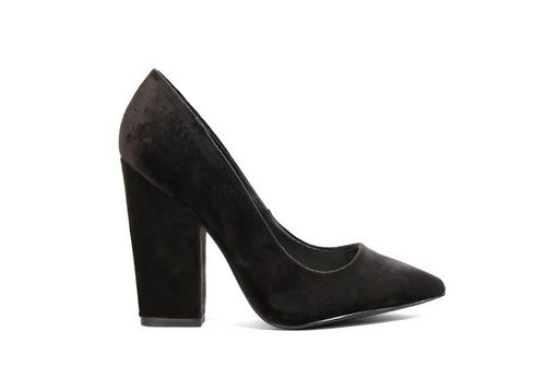 trender zapatilla de tacón cuadrado en negro terciopelo
