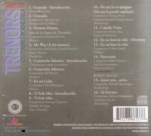 trenors  - cd nuevo  original - un tesoro músical