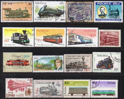 trens - lote 16 selos diversos