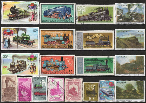 trens - lote 20 selos diversos