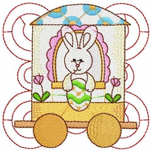 trenzinho do coelho - coleção de matriz de bordado
