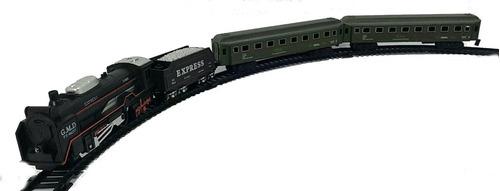 trenzinho elétrico a pilha com locomotiva e trilho de 2,5m