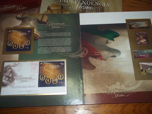 tres albums filatelicos bi-centenario de la independencia