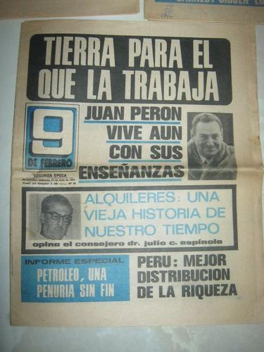 tres antiguos diarios 9 de febrero hablan de peron y mas