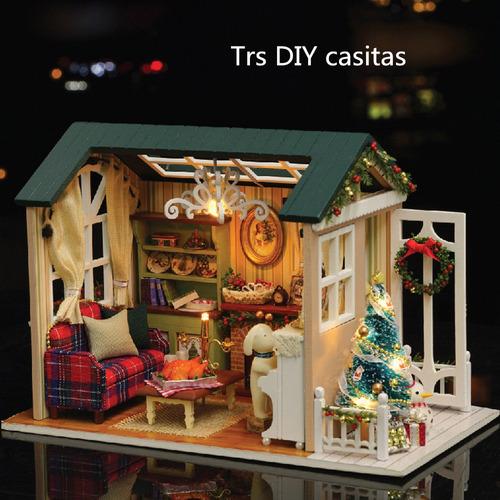 tres artesanía de casas de madera diy con luz led