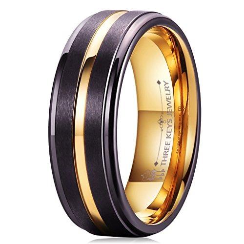 tres claves  joyerí 8mm anillo bodas tungsteno dos tonos h