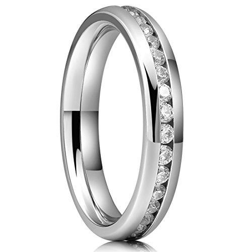 tres claves  joyería anillo bodas titanio mujer 4 mm pulid