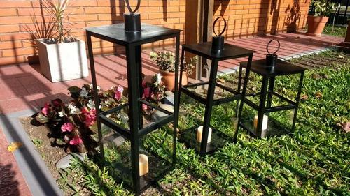 tres faroles fanales hecho en hierro stock permanente