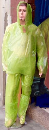 tres kit impermeables polietileno chaqueta,pantalon,zapato