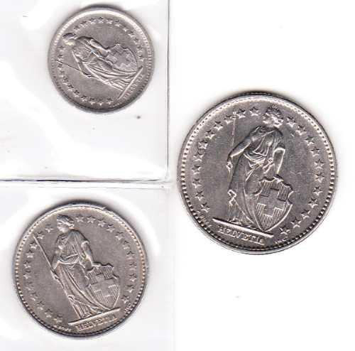 tres monedas de suiza  2 fr, 1fr , 1/2 fr.