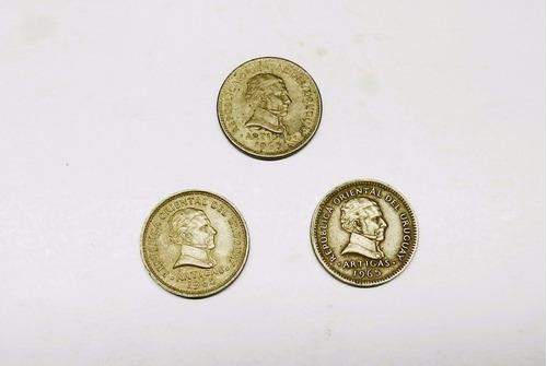 tres monedas uruguayas canto estriado