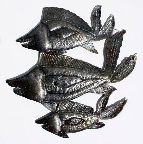tres peces decoracion de pared de metal hecho a mano 35cm