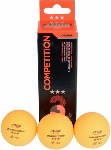 tres pelotas tenis de mesa stiga competitio 3 star ittf
